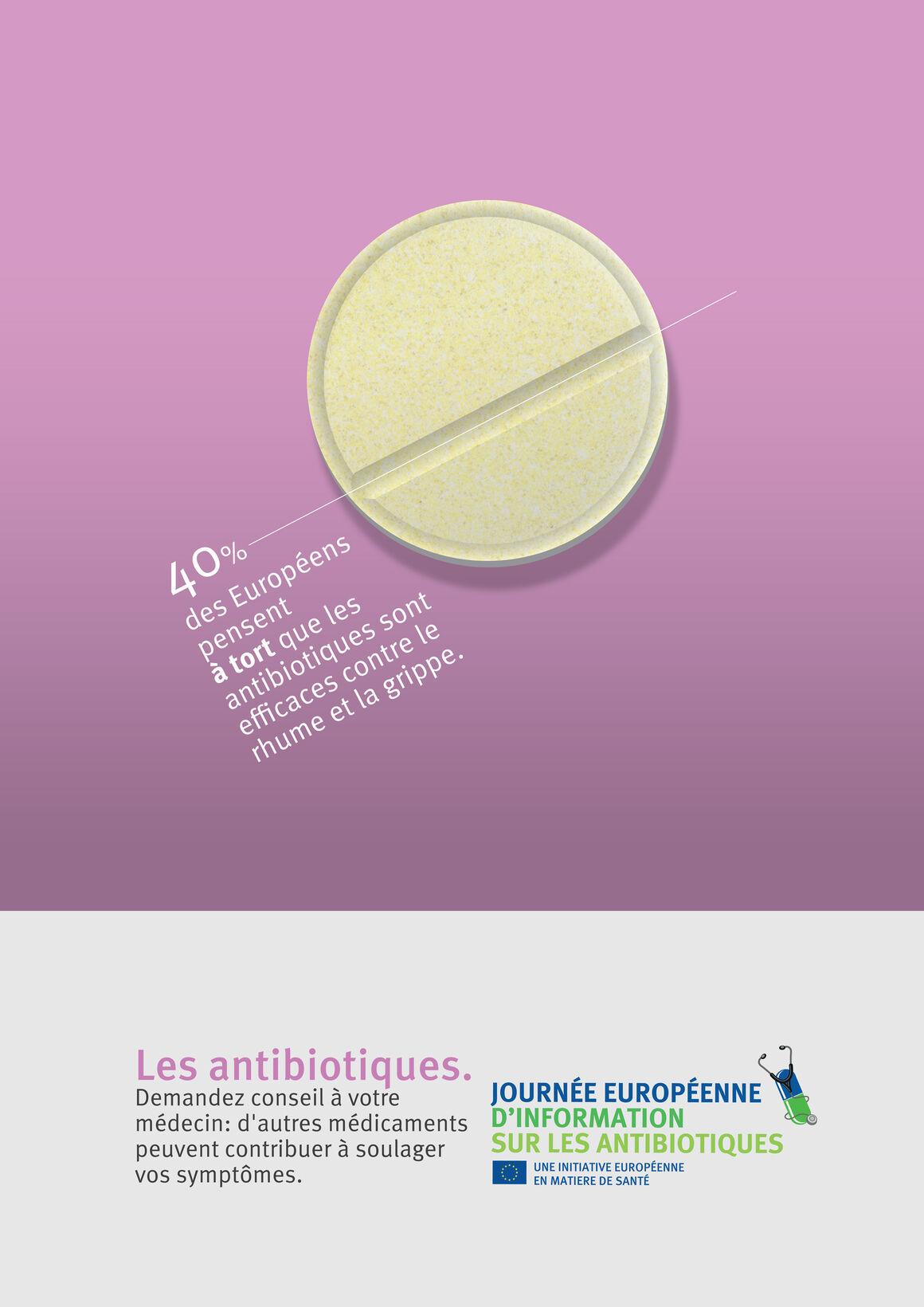 Affiches: Les antibiotiques. Demandez conseil à votre médecin: d'autres médicaments peuvent contribuer à soulager  vos symptômes.