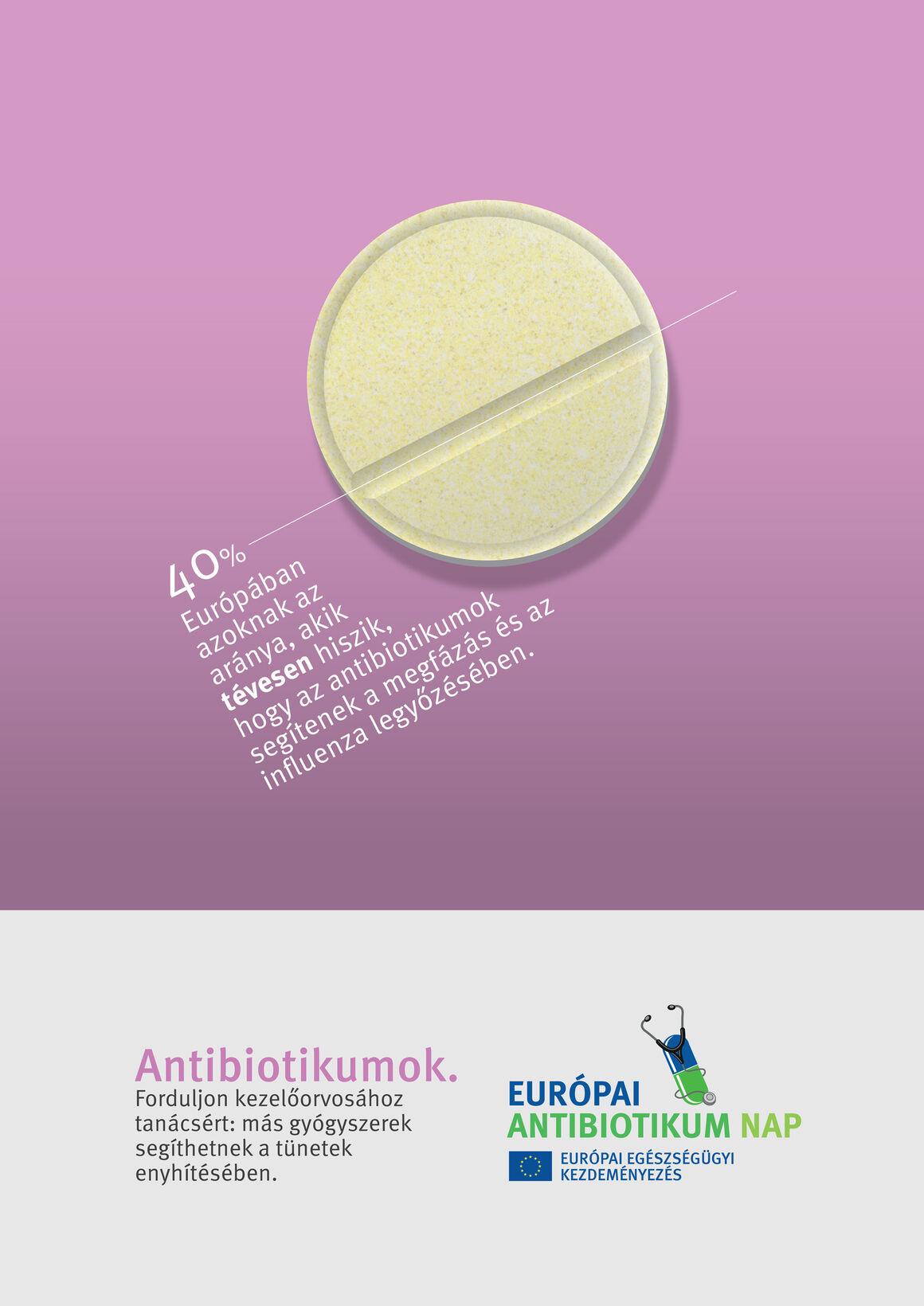 Plakátok: Antibiotikumok. Forduljon kezelőorvosához tanácsért: más gyógyszerek segíthetnek a tünetek enyhítésében.