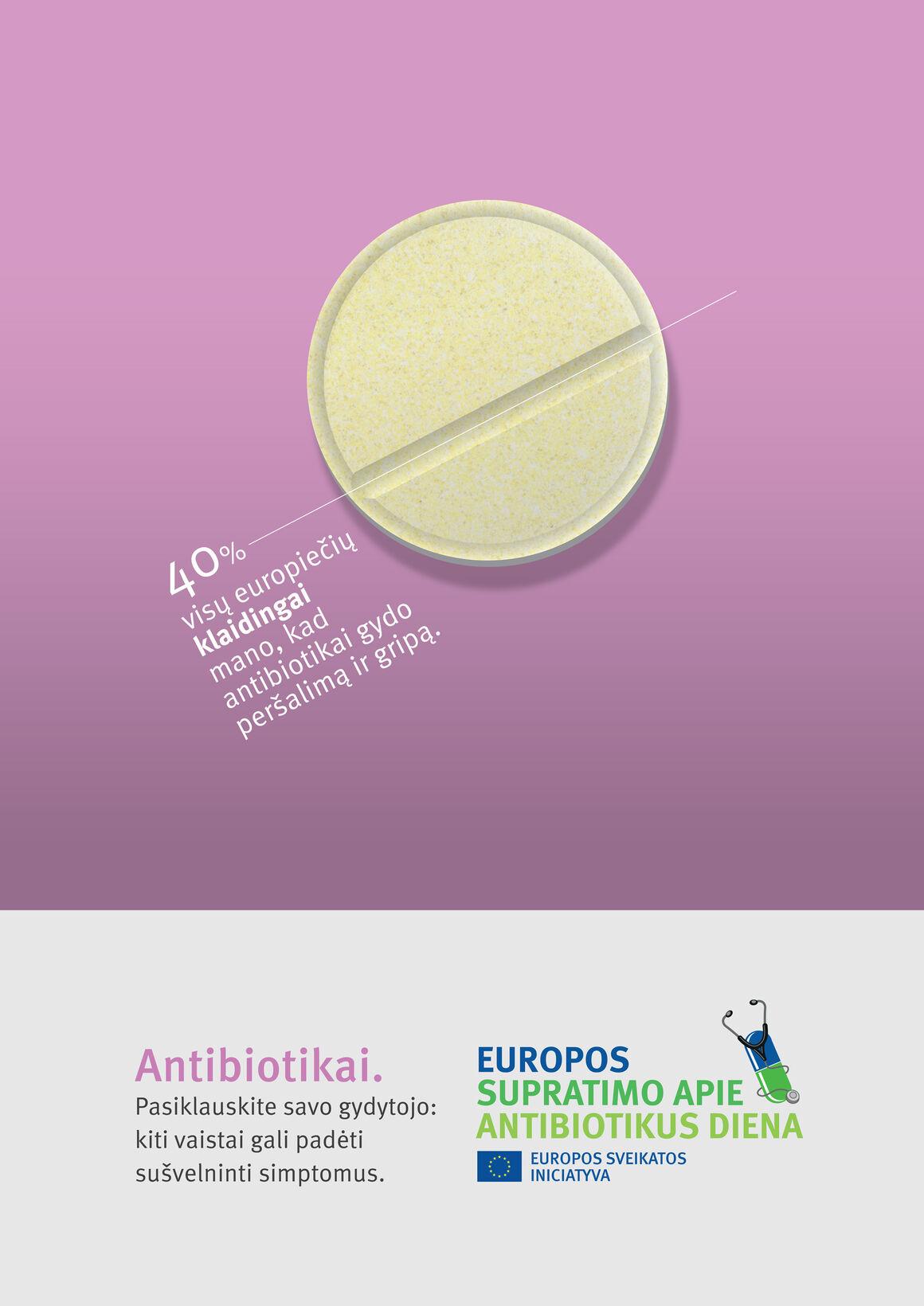 Plakatai: Antibiotikai. Pasiklauskite savo gydytojo:  kiti vaistai gali padėti  sušvelninti simptomus.