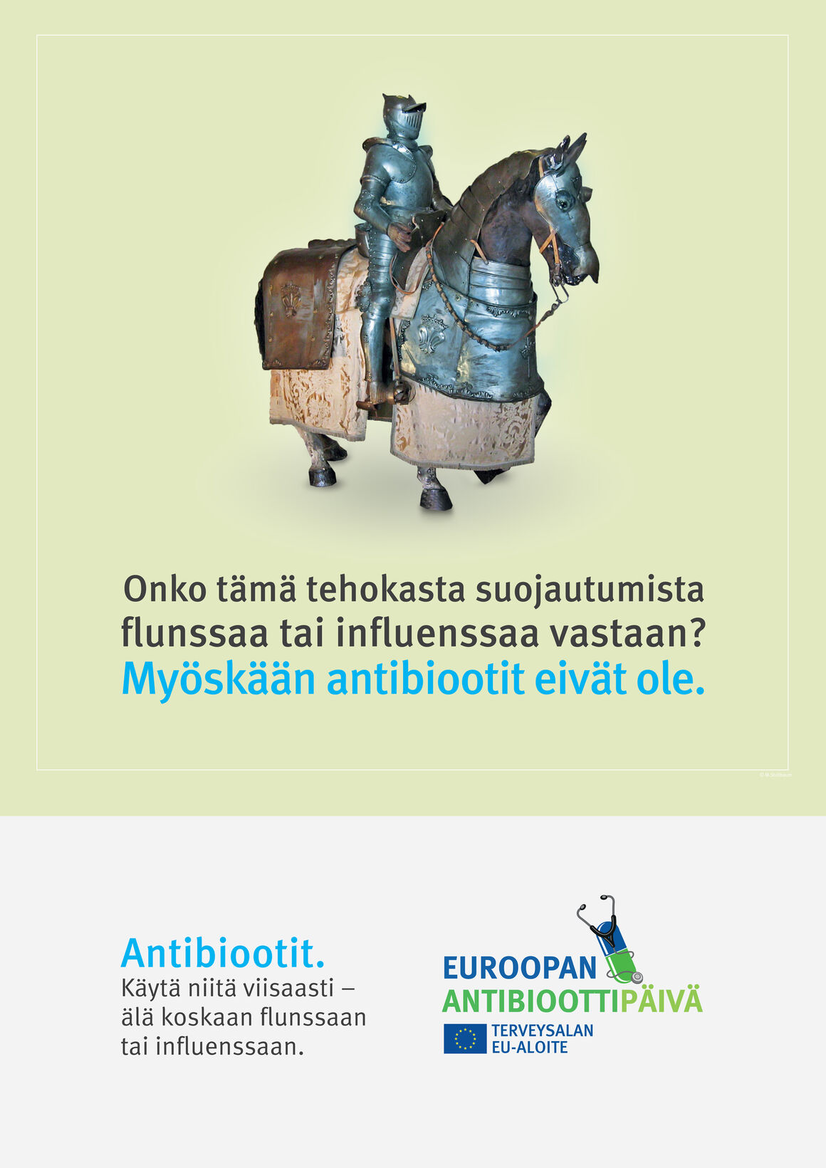 Julisteet: Onko tämä tehokasta suojautumista flunssaa tai influenssaa vastaan? Myöskään antibiootit eivät ole.
