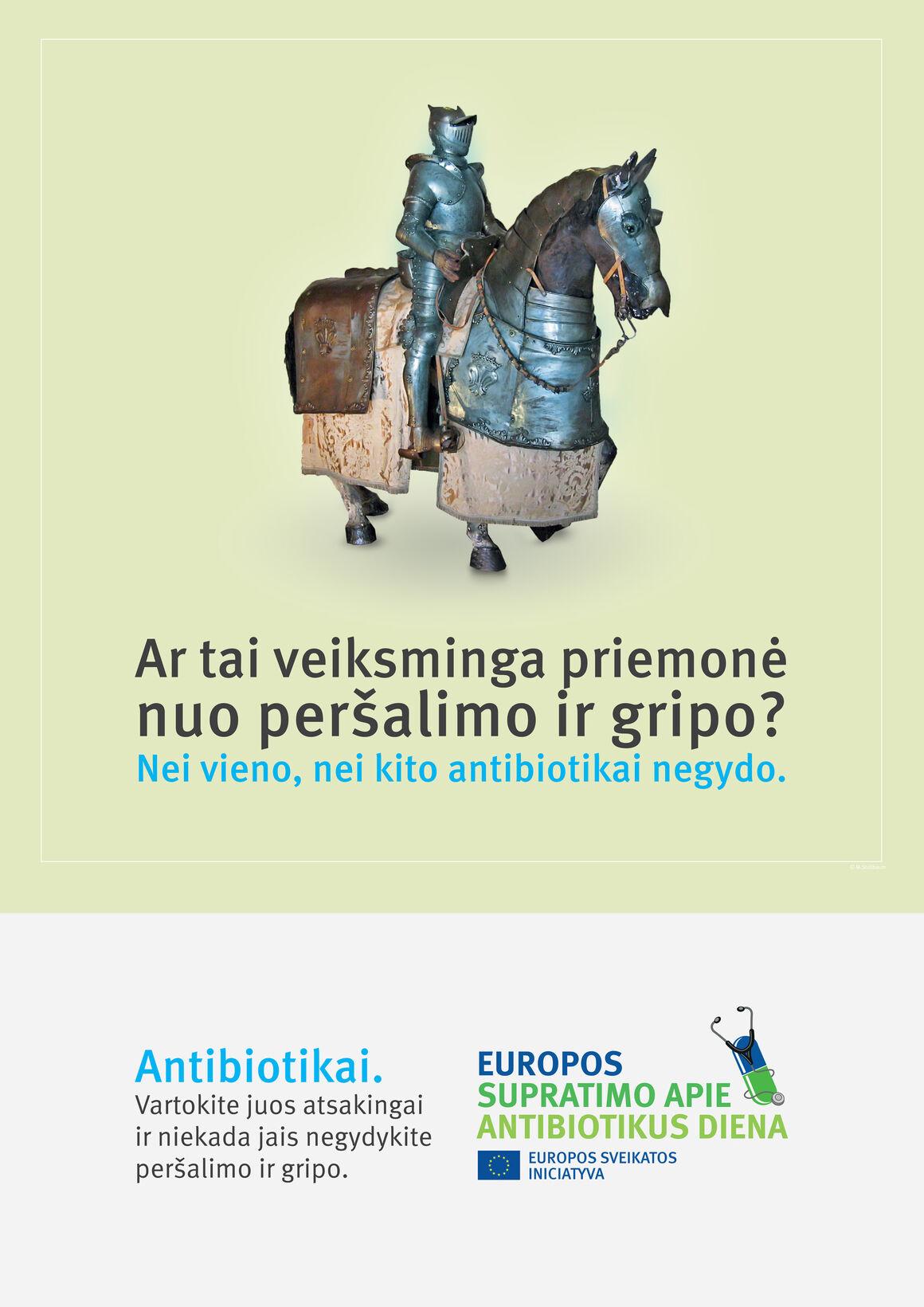 Plakatai: Ar tai veiksminga priemonė nuo peršalimo ir gripo? Nei vieno, nei kito antibiotikai negydo.