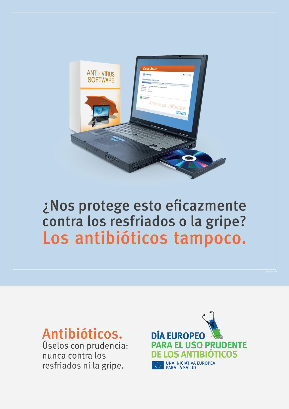 Carteles: ¿Nos protege esto eficazmente contra los resfriados o la gripe? Los antibióticos tampoco.