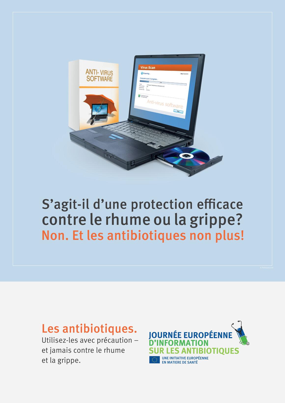 Affiches: S'agit-il d'une protection efficace contre le rhume ou la grippe? Non. Et les antibiotiques non plus!