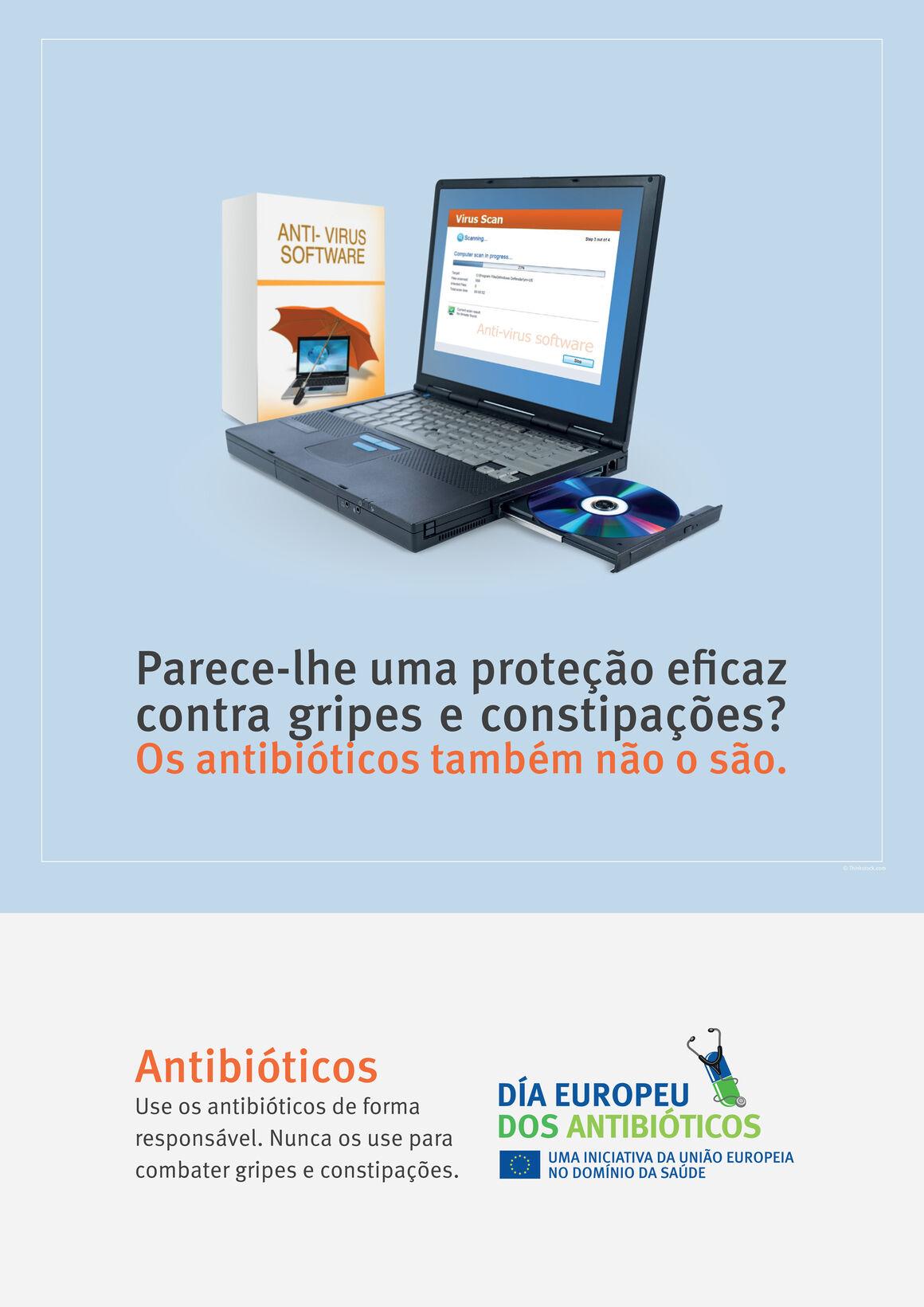 Cartazes: Parece-lhe uma proteção eficaz contra gripes e constipações? Os antibióticos também não o são.