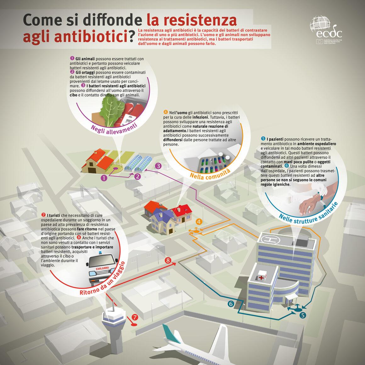 Come si diffonde la resistenza agli antibiotici?