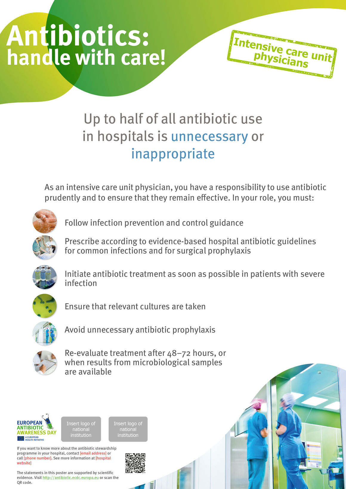 Poster for intensive care unit physicians: Things to do to keep antibiotics working.