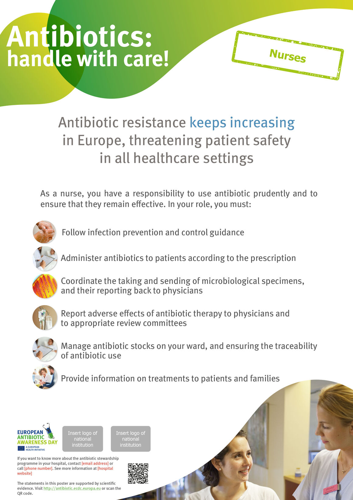 Poster for nurses in hospitals and healthcare settings: Things to do to keep antibiotics working.