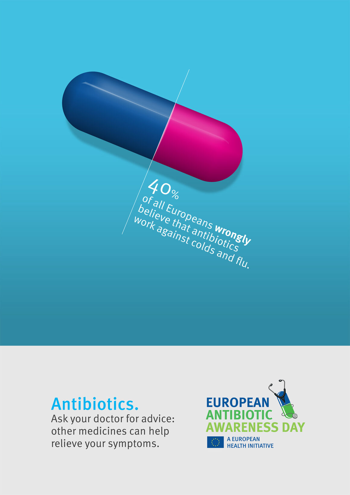 Poster: Antibiotics. Use them wisely – and never against colds and flu