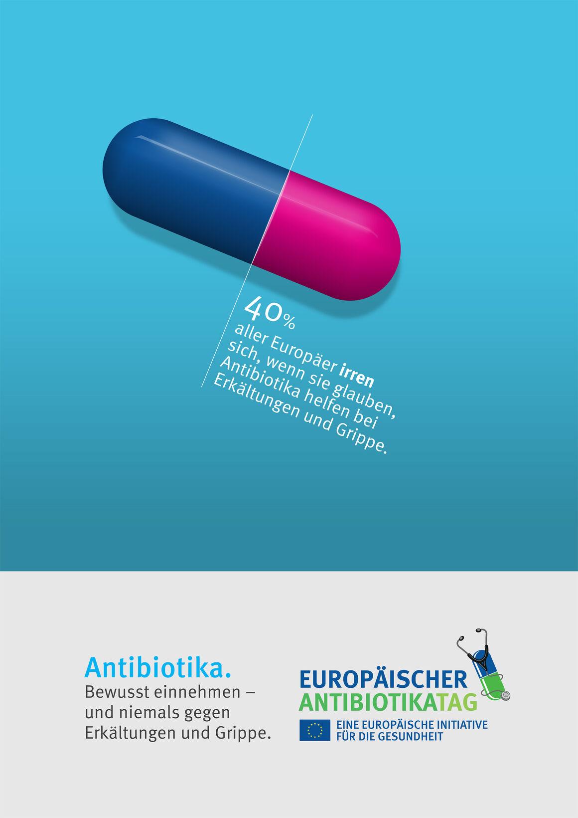 Poster: Antibiotika. Bewusst einnehmen – und niemals gegen Erkältungen und Grippe.