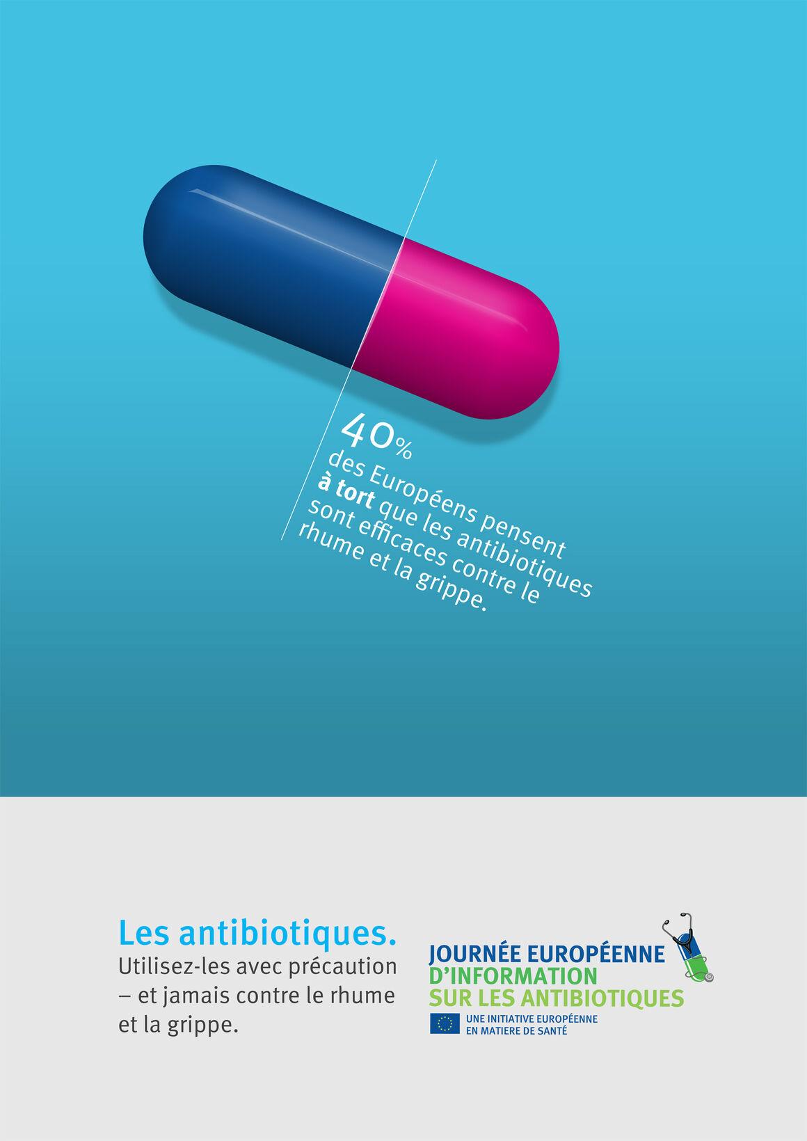 Affiche: Les antibiotiques. Utilisez-les avec précaution – et jamais contre le rhume et la grippe.