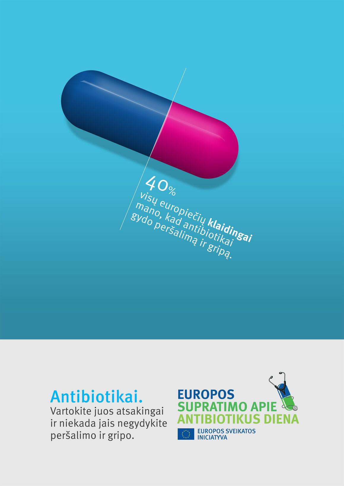 Plakatą: Antibiotikai. Vartokite juos atsakingai ir niekada jais negydykite peršalimo ir gripo.