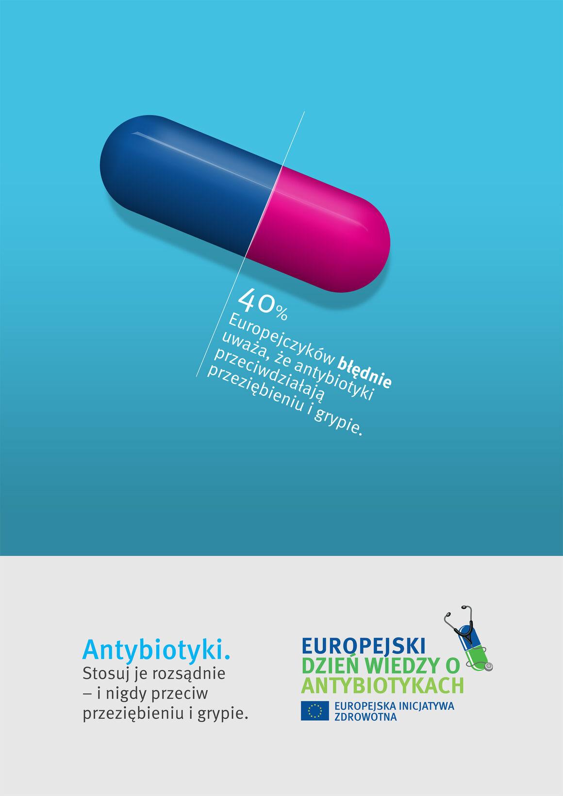 Plakat: Antybiotyki. Stosuj je rozsądnie – i nigdy przeciw przeziębieniu i grypie.