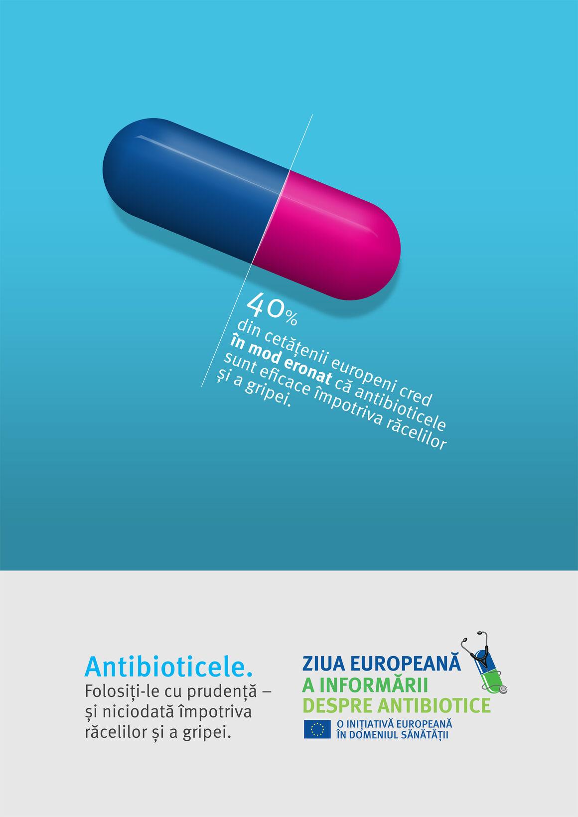 Afiș: Antibioticele. Folosiți-le cu prudență – și niciodată împotriva răcelilor și a gripei.