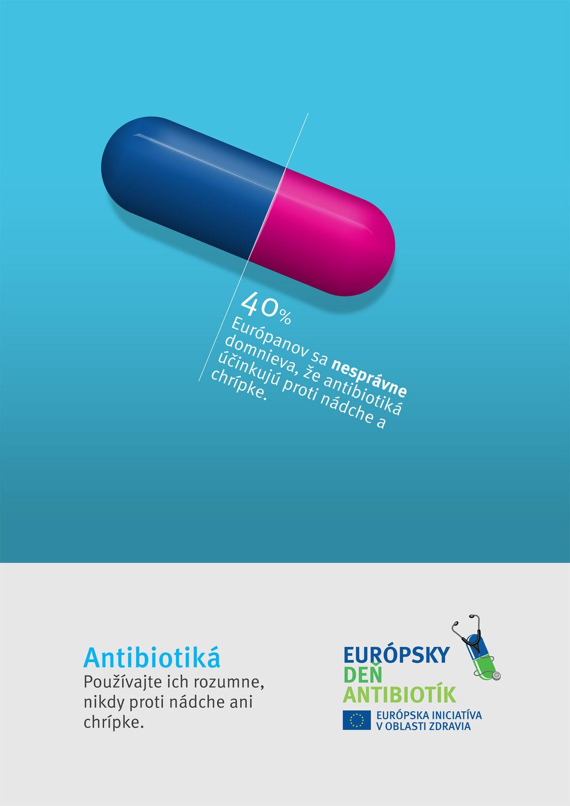 Poster: Antibiotiká. Používajte ich rozumne, nikdy proti nádche ani chrípke.