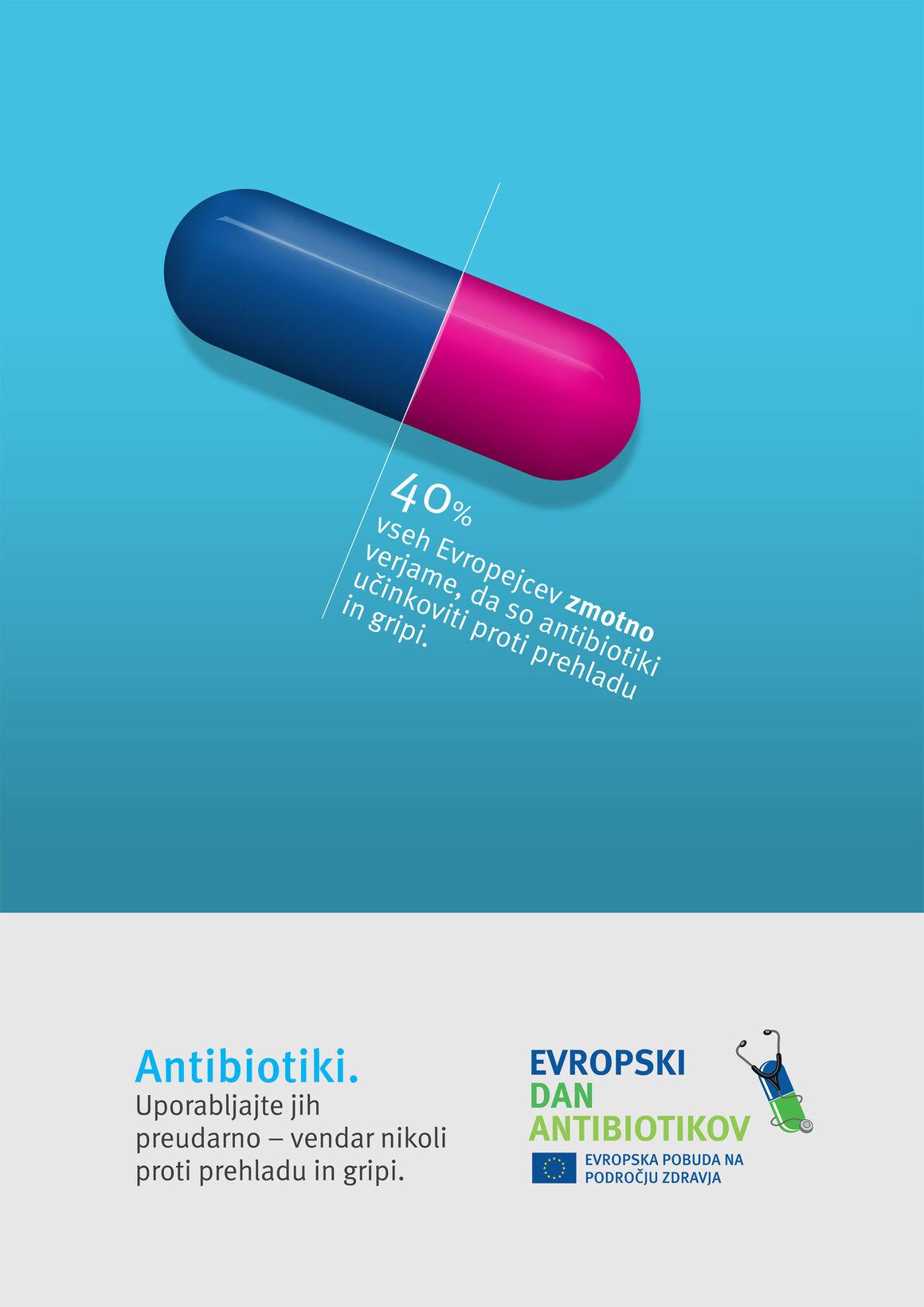 Plakat: Antibiotiki. Uporabljajte jih preudarno – vendar nikoli proti prehladu in gripi.